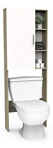 DEMEYERE Mueble baño Auxiliar WC Nacre Color Roble y Blanco Aseo Armario Columna almacenaje 185x66x21 cm