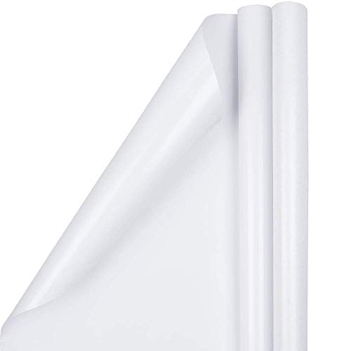 JAM PAPER Gift Wrap - Glossy Wrapping Paper - 50 Sq Ft Total - White - 2 Rolls/Pack
