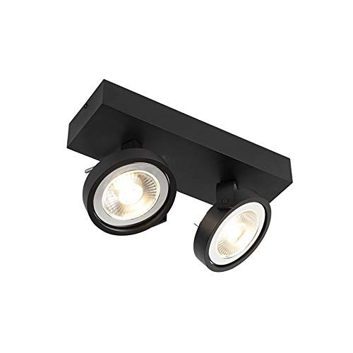 QAZQA - Modern Design Spot | Spotlight | Deckenspot | Deckenstrahler | Strahler | Lampe | Leuchte schwarz verstellbar 2-flammig-Licht inkl. 2-flammig x G53- Go Large | Wohnzimmer | Schlafzimmer | Küch