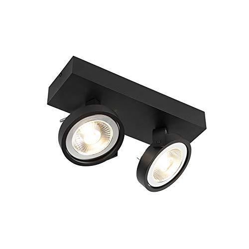 QAZQA Modern Design Spot/Spotlight/Deckenspot/Deckenstrahler/Strahler/Lampe/Leuchte schwarz verstellbar 2-flammig-Licht inkl. 2-flammig x G53- Go Large/Innenbeleuchtung/Wohnzimmerlampe