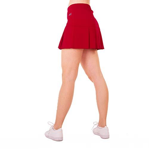 Sportkind Mädchen & Damen Tennis, Hockey, Golf Faltenrock mit Innenhose, atmungsaktiver Skort, UV-Schutz, Bordeaux rot, Gr. L