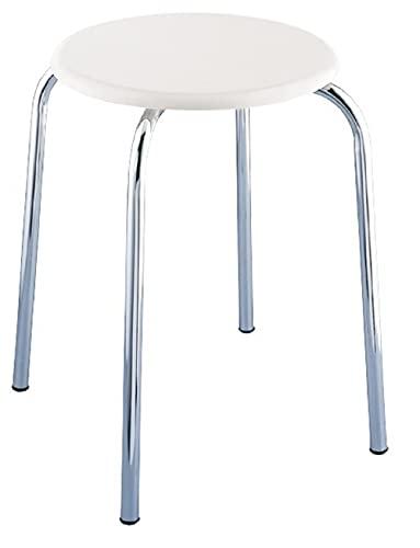 WENKO Taburete de baño - con asiento de madera MDF, MDF, 32