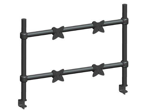 MonopriceEinstellbareneigbareQuadTischhalterung- Schwarz Für Bildschirmgrößen bis zu 58 cm mit 15 kg Maximalgewicht pro Anzeige, Stahlkonstruktion mit Aluminium-VESA-Platte