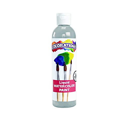 Colorations Liquid Watercolor Paint, 8 Fluid Ounces oz, Gray, Non-Toxic, Painting, Kids, Craft, Hobby, Fun, Water Color, Posters, Cool Effects, Versatile, Gift (Item # LWGY)