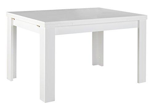 Esstisch Küchentisch Ausziehtisch | B 120 x T 80 cm | Dekor | Weiß matt | ausziehbar