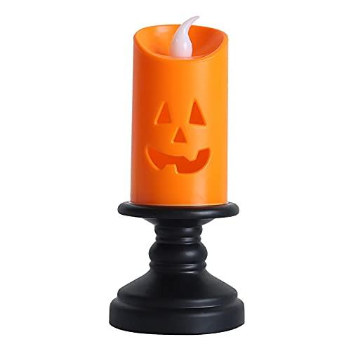 Metikkeer Paquete de 10 velas sin llama de Halloween, velas de calabaza con base, LED parpadeantes de batería, decoración de fiesta de Halloween (D 2.2 pulgadas x H 5.1 pulgadas)