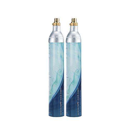 Levivo 2x CO2-Kartusche für Wassersprudler, gefüllte Kohlensäurekartuschen für ca. 60 l Sprudelwasser, silber