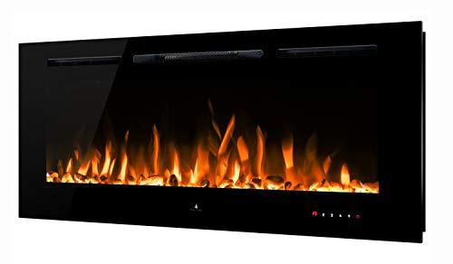 "Noble Flame Paris Schwarz 1400 (140 cm / 55"") - Elektrokamin Wandkamin Kaminofen Kamin - Wandmontage Fernbedienung - 14,5 cm Einbautiefe"