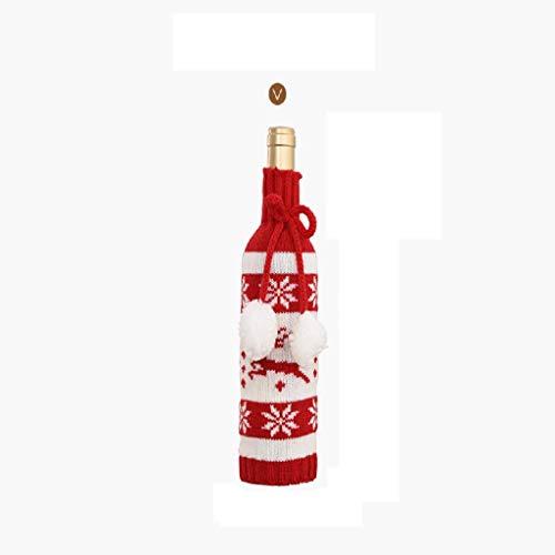 FEE-ZC Paquete de 3 Bolsas navideñas de Punto para Botellas de Vino, Funda de Regalo para Decoraciones de Banquetes de Boda, Vacaciones, Navidad, cata de vinos, Suministros para Fiestas