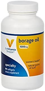 The Vitamin Shoppe Borage Oil 1,000MG (Black Currant), Women's Health Supplement, Supports Healthy Joint Function Circulation, Natural Source of GLA (Gamma Linolenic Acid) (90 Softgels)
