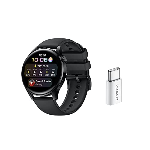 HUAWEI WATCH 3 Montre Connectée 4G + Adaptateur TypeC, écran AMOLED de 1.43'' pouces, eSIM, GPS, Bracelet Noir