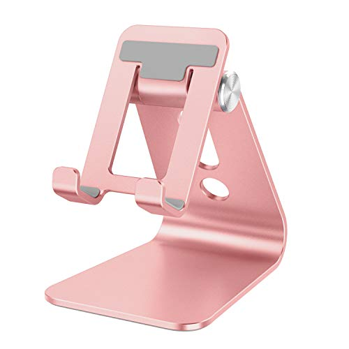 Cell Phone Stand Adjustable, OMOTON Aluminum Desktop Phone Holder Cradle Dock Compatible with All Smartphone iPhone 11 Pro Max Xs Max Xr X 8 7 6 6s Plus 5 5s 5c, Rose Gold
