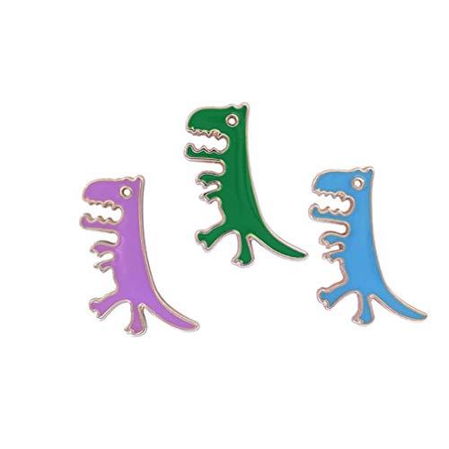 Amosfun Dinosaur Broches Mode Dieren Patroon Emaille Pin Sieraden Lapel Pin Doek Accessoires Borstpin voor Meisjes Vrouwen Kinderen 3 Stks