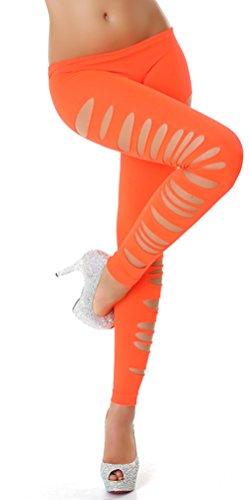 Gogo leggings lang met gescheurde look Eenheidsmaat (32-38), lightoranje