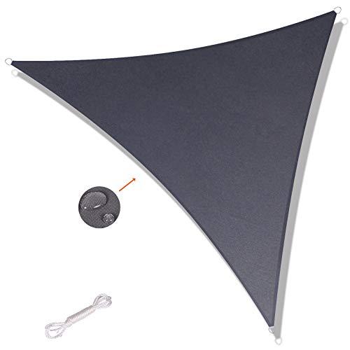 SUNNY GUARD Toldo Vela de Sombra Triangular 3x3x4.25m Impermeable a Prueba de Viento protección UV para Patio, Exteriores, Jardín, Color Antracita