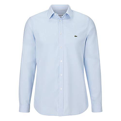 Lacoste Herren CH7543 Oberhemd Langarm, Männer Hemd,kariert, Slim Fit,Hemisphere Blue/White(1ZZ),43 EU (43)