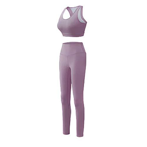 QWERTYUIOP Yoga-Bekleidungssets Für Damen,hohe Elastizität Weich Und Bequem Sportbekleidung Für Yogalaufen Andere Aktivitäten Halfter Sport-Tops + Leggings Anzüge XL Pink Lila