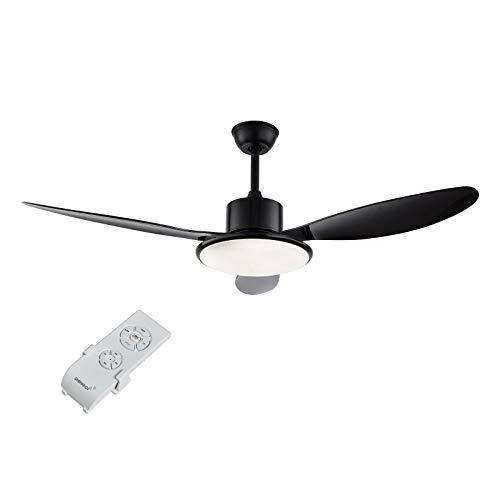 Ventilador de techo con luz y mando a distancia, 36 W, ventilador de techo de metal/ABS/Glass/negro, lámpara de techo con ventilador, incluye 3 aspas en 3 niveles, adecuado para dormitorio, salón