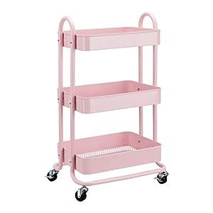 AmazonBasics - Carrito de cocina o multiuso de tres niveles con ruedas en rosa apagado