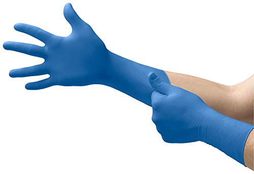 Microflex SG-375 Disposable Latex Gloves Medical/Exam Grade, Long Cuff, Thick Powder Free Glove in Natural Rubber for Cleaning, Sanitary or Mechanic Tasks, Blue, Size Large, Box of 50 Units