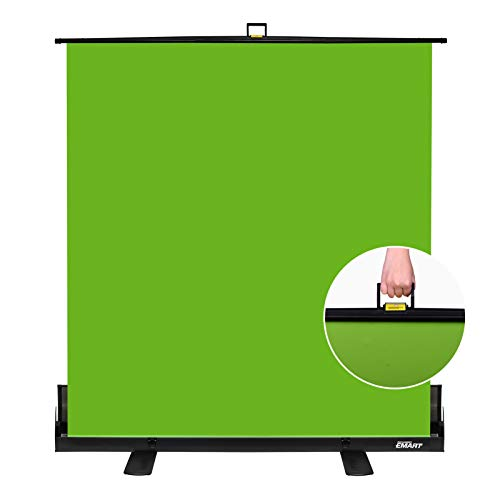 EMART Green Screen, Collapsible Chroma Key Panel for Background Removal, Portable Retractable Wrinkle Resistant Chromakey Green Backdrop with Auto-Locking Frame, Aluminum Hard Case, Ultra Quick Setup