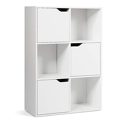 COSTWAY Bücherregal 6 Fächer, Standregal weiß, Büroregal freistehend, Aktenregal Ordnerregal Aufbewahrungsregal