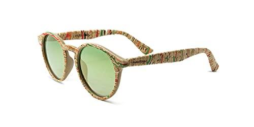 PARAFINA Laguna Gafas de Sol para Mujer y Hombre, Protección UV400, Gafas Eco-Friendly Polarizadas y Ultra Ligeras, Montura Eco-friendly color Corcho Pintado y Lentes Verdes