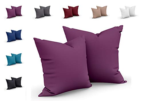 one-home 2er Set Mikrofaser Kissenbezug Kissenhülle Kopfkissen Hülle Uni, Maße:40 x 40 cm, Farbe:Aubergine/Lila