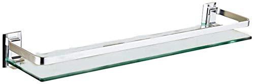 Glasregal Quadratisches Badezimmerregal mit Schiene Einreihige Dusche Caddy Spiegel Vorderes Lagerregal 5.4 (Größe: 400 mm)