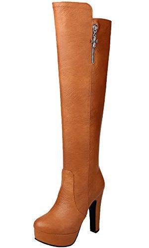BIGTREE Rodilla Botas Altas Mujer Cuero de PU Casual Tacón Alto Otoño Invierno Cálidas Plataforma Botas largas De