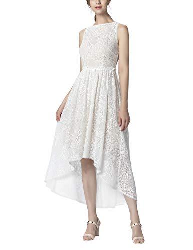 APART Damen Abendkleid aus Spitze, mit Nude-farbenem Futter, Creme, 38