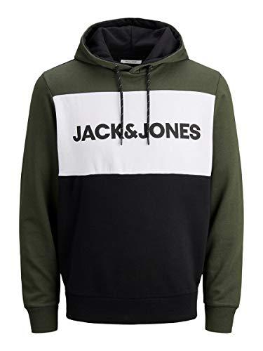 JACK & JONES JJELOGO Blocking Sweat Hood STS Sudadera con capucha, Verde (Forest Night), L para Hombre