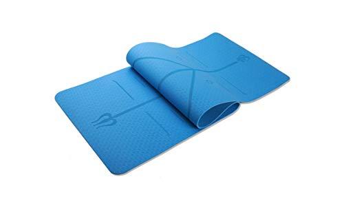 Big Incisors-CA Tapis de Yoga antidérapant | Tapis de Tapis de Gymnastique de Yoga TPE 1830 * 610 * 6mm avec Ligne de Position Tapis de Tapis antidérapant pour débutant YogaFitness Motion-Blue-