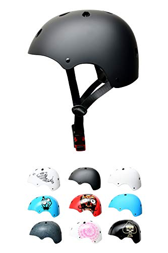 SC Skateboard & BMX Bike Helmet for Kids Girls Boys high Protection Longboard Scooter Ice-Skate – 12 Designs, Black - Children Helmet, Size: S