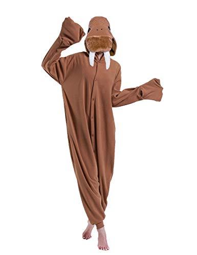 dressfan Tier Walross Kostüm Walross Jumpsuits Walross Pyjamas Cosplay Kostüm Weihnachten Halloween Schlafanzug für Unisex Erwachsene Jugendliche Kinder (Brown, Medium)