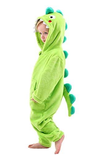 LOLANTA Disfraz Dinosaurio Tiburón Niño, Mameluco con Capucha para Niños, Regalo para Niños,Verde,4-5 años,Talla M