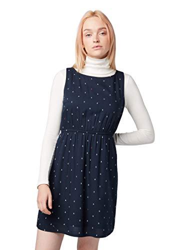 TOM TAILOR Denim Damen 1008138 Kleid, Blau (Anchor Print Dark Bl 15561), X-Small (Herstellergröße: XS)