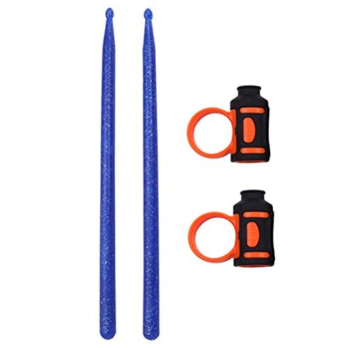 EXCEART Palillos de Tambor con Palillos de Silicona Palillos de Nailon 5A Palillos Antideslizantes Clip de Control para Jugar Al Baterista