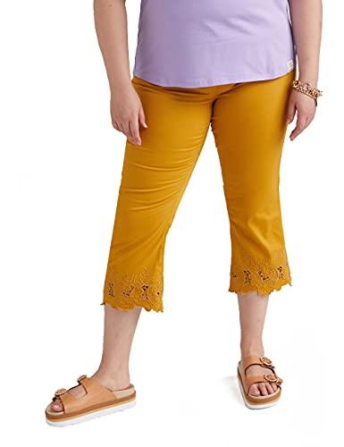 Fiorella Rubino : Pantalones Kick Flare Agata con Bordado en el bajo Amarillo 35 Mujer (Plus Size)