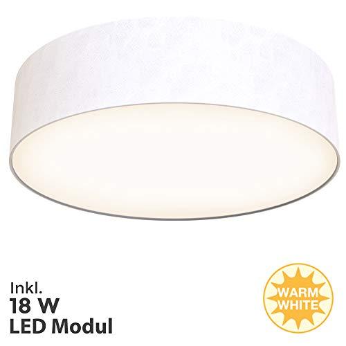 Briloner Leuchten LED Deckenleuchte, Stoffleuchte, weiß, 1.600 Lumen, 3.000 Kelvin, Sonstige Metalle