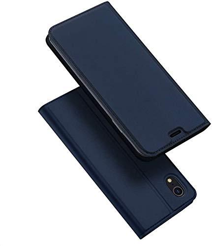 DUX DUCIS Funda Apple iPhone XR, PU Cuero Flip Carcasa Fundas Móvil de Tapa Libro para Apple iPhone XR (Azul Marino)