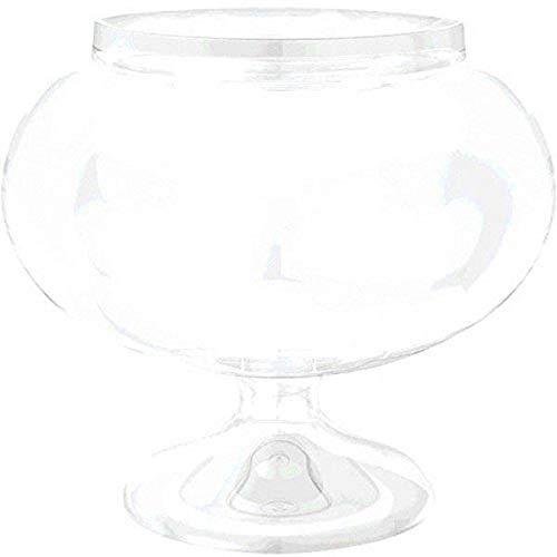 Amscan 410010 Round Pedestal Plastic Jar, Short, Clear