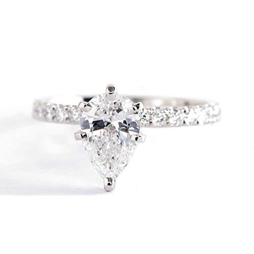 Anillo de compromiso de diamantes de corte de pera SI2 D, 1,10 quilates, 1,10 quilates, SI2 D, con corte de pera francesa, de oro blanco de 18 quilates
