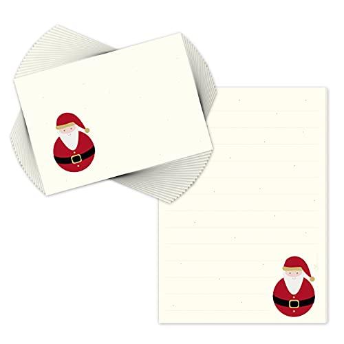 Blocco da scrittura / Blocco da lettera 'Babbo Natale' DIN A5 foderato di cui 20 buste corrispondenti / Carta intestata Natale / Set carta intestata Natale / Blocco da appunti / Lista dei desideri.