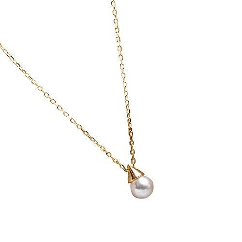 NA Collana S925 Collana di Perle in Argento Sterling Conico A Triangolo Lampadina Conchiglia Pendente di Perle Conchiglia