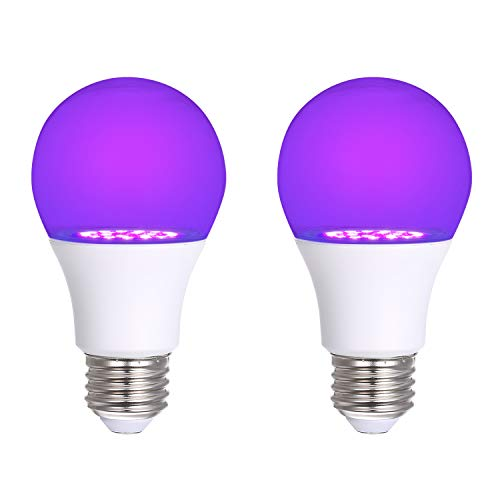 2er UV Schwarzlicht Glühbirne, Tomshine 7W E27 LED UV Lampe Schwarzlicht Birne Black Light Bulb, für Neon Party Club Bar Helloween [Energieklasse A+]