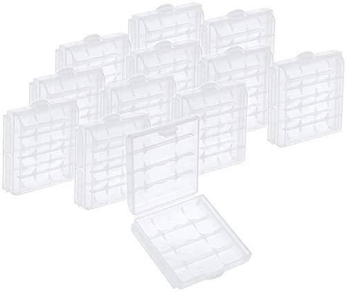 com-four® 12x Batteriebox aus Kunststoff - Aufbewahrungsbox für Batterien und Akkus - Akkubox für AA und AAA (12 Stück - Transparent)