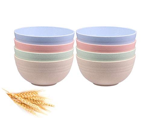 Unbreakable Cereal Bowls - 24 OZ Wheat Straw Fiber Lightweight Bowl Sets 8 - Dishwasher & Microwave...