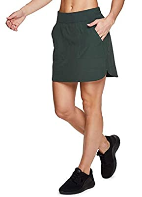 RBX Active Women's Fashion Stretch Woven Flat Front Golf/Tennis Athletic Skort with Attached Bike Shorts and Pockets New Spring Green L