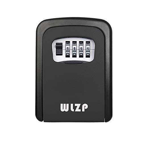 Schlüsseltresor, Schlüsselsafe mit 4-Stelliges Zahlencode Wandmontage Innen-aussenbereich, Schlüsselkasten Edelstahl und Wasserdicht, Geschenke - 2 Schlüsselbund (Schwarz)